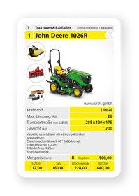 Mieten  Kompakttraktoren: John Deere - 1026R (mieten)