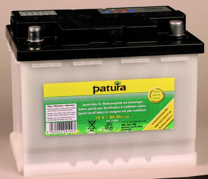 Weidezauntechnik:                     Patura - 133800 Weidezaun-Akku 12V80AH Spezial