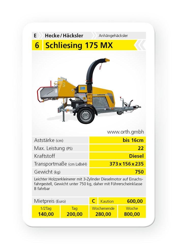 Mieten                                          Holzhäcksler:                     Schliesing - 175 MX (mieten)