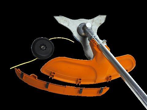 Dank des Kombischutzes kann wahlweise mit Grasmesser oder Trimmerkopf gearbeitet werden.