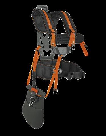 Ergonomischer Tragegurt mit breiter Rückenstütze, Schulterriemen und Hüftgurt. Die Last wird dadurch auf eine größere Fläche verteilt. Die Rückenplatte ist verstellbar, so dass ein perfekter Sitz gewährleistet ist.