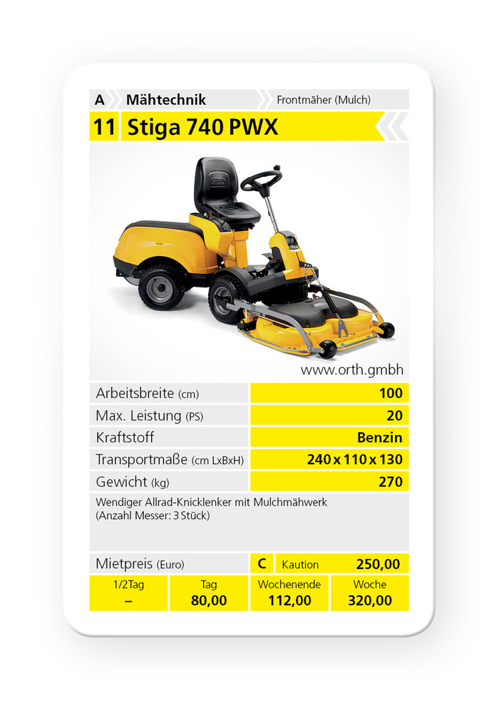 Mieten                                          Frontmäher:                     Stiga - 740 PWX (mieten)