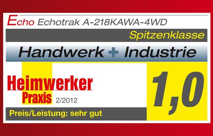 """ECHOTRAK erhält Bestnote -  der ECHOTRAK A-218KAWA-4WD hat im Test der Zeitschrift """"Heimwerker Praxis"""" die Bestnote mit 1,0 erzielt."""