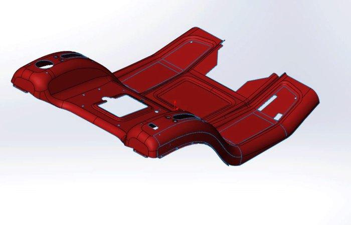 Rahmenkonstruktion aus nur einem Stück -  Das macht den Rasentraktor in der Produktion teurer, aber auch stabiler und besonders langlebig. Die Fertigung aus nur einem Stück ist die hochwertigere Alternative zu einer im Gegensatz normal aus mehreren Bauteilen zusammengesetzter Konstruktion.