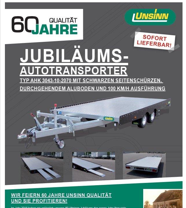"""Angebote                                          Autotransporter:                     Unsinn - AHK 3043-10-2070 """"Jubiläum 60 Jahre"""" (Aktionsangebot!)"""