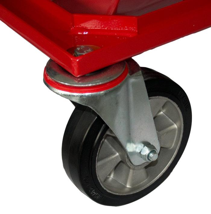 360° drehbare Vorderräder -  Um 360° drehbare Vorderräder, machen den AKKUVAC ES-424E zu einem wendigen Gerät, das sich besonders einfach manövrieren lässt. Ein wichtiger Pluspunkt für die Arbeit auf Plätzen mit vielen Hindernissen.