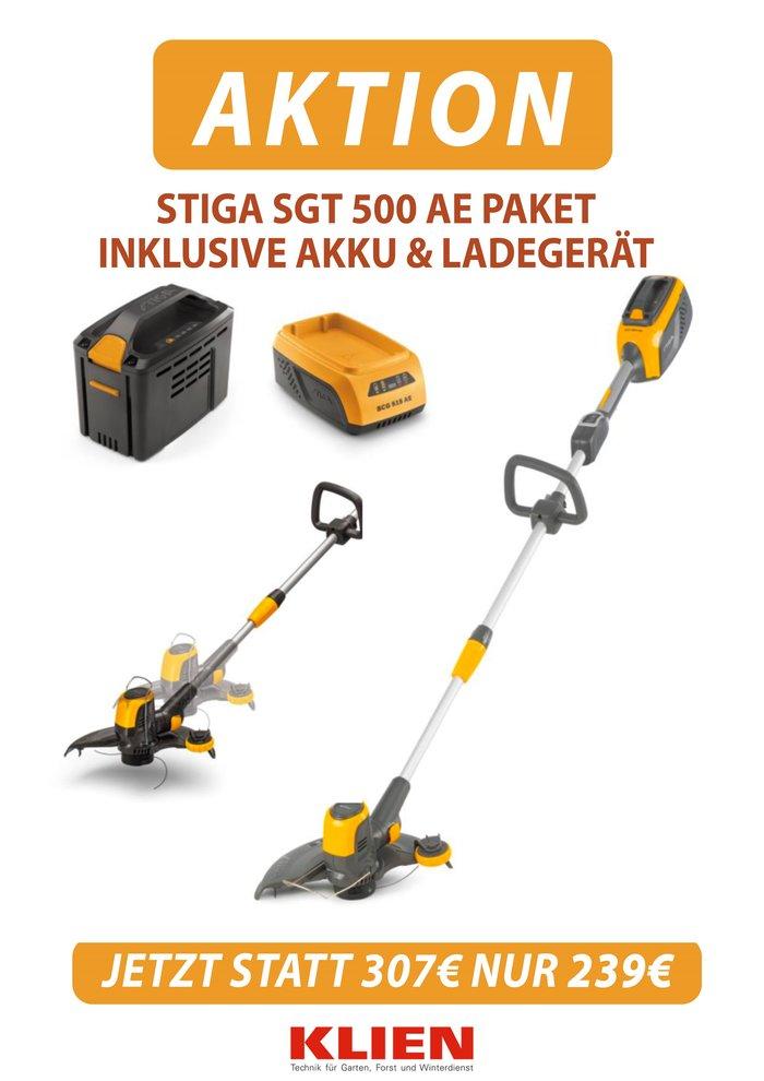 Angebote                                          Akkugeräte:                     Stiga - AKKU Rasentrimmer SGT 500 AE SET (Empfehlung!)