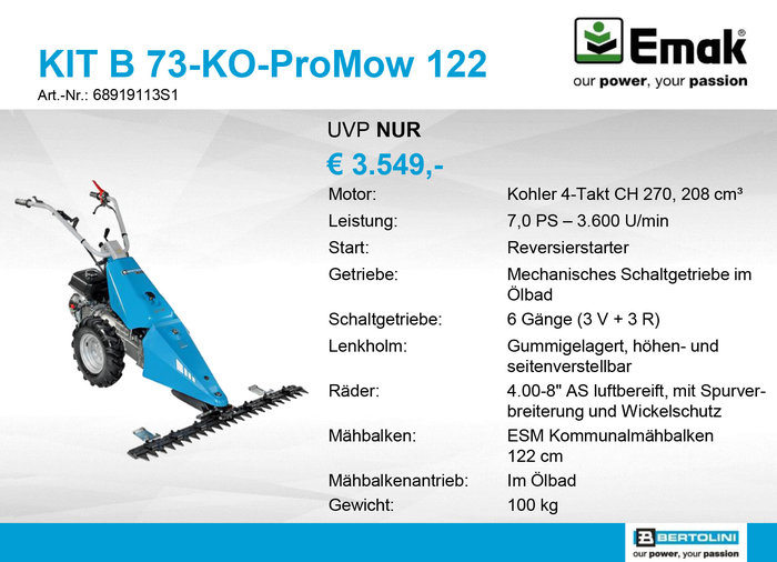 Gebrauchte                                          Einachser:                     Bertolini - ALPIN B73-KO-ProMow 122 - AKTION & NICHT (gebraucht)