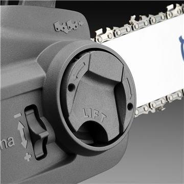 Der werkzeuglose Kettenspanner ermöglicht schnelle und einfache Montage von Schiene und Kette ohne Werkzeug.