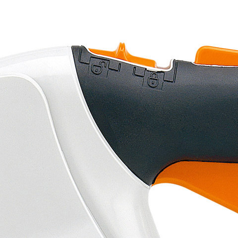 Rasthebel  Der Rasthebel ist ein Sicherheitselement, mit dem das Blasgerät verriegelt werden kann. So wird ein unbeabsichtigtes Anlaufen des Geräts bei eingestecktem Akku verhindert.