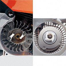 ErgoStart: Beim STIHL ErgoStart ist zwischen der Seilrolle der Anwerfvorrichtung und der Kurbelwelle eine zusätzliche Spiralfeder geschaltet, die gegen den Verdichtungsdruck am Kolben aufgezogen wird. Ist die Federkraft größer als der Verdichtungsdruck, dreht die Kurbelwelle durch und der Motor springt an. Der Anwender startet die Maschine bequem ohne störende Kraftspitzen.