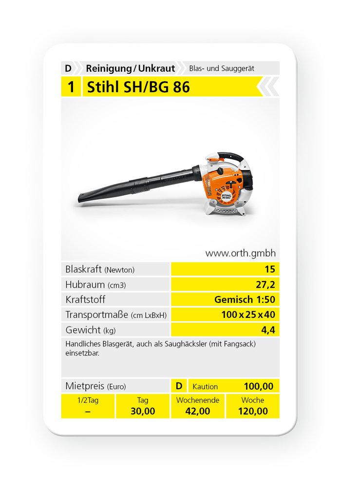 Mieten                                          Kombigeräte:                     Stihl - BG 86 / SH 86 (mieten)