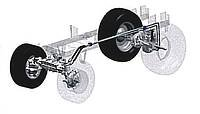 Der Antrieb besteht aus einer hydraulischen Pumpeneinheit hinten und einer hydraulischen Antriebseinheit vorne. Die Kreisläufe beider Systeme sind durch Schläuche im Chassis verbunden und laufen völlig synchron. Hierdurch kommt der Rasentraktor mit 4WD-Antrieb ohne eine leistungsmindernde Kardanwelle aus. Die leichtgängige 2-Pedal-Steuerung bürgt für exaktes Manövrieren im Gelände.