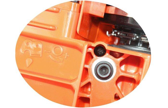 einstellbare Ölpumpe  Die Ölpumpe lässt sich je nach Einsatzzweck manuell einstellen.