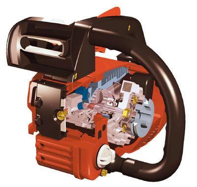 Kompakt  in ihren Abmessungen, riesig in ihrer Leistung. Diese Bauweise erlaubt es den kraftvollen Motor mit seinen Nebenaggregaten (Ölpumpe, Zündeinheit, Kupplung usw.) auf engstem Raum unterzubringen ohne die Wartungsfreundlichkeit dadurch zu beeinträchtigen.