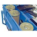 Die Filterpatronen sind staubdicht im Filtergehäuse eingesetzt. Die Filterfläche beträgt 1m2 pro Filter und sorgt damit für hochgradige Staubabscheidung. Auf Wunsch können anstelle der serienmäßigen Papierfilter die auswaschbaren Polyesterfilter geliefert werden.