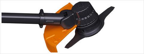 Schneidkopf: Der PELLENC-Schneidkopf kann mit einem Nylonfaden oder Metallklingen bestückt werden, wenn das Werkzeug abmontiert wurde. Ein einziger Schneidkopf für mehrere Anwendungen!