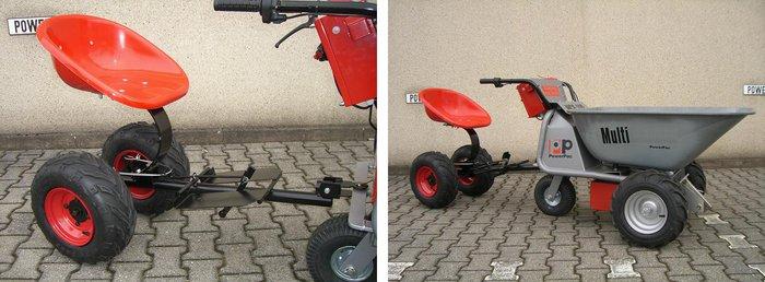 PowerPac Elektroschubkarre mit Anhängesitz - gefederten Sitz und Fußbremse