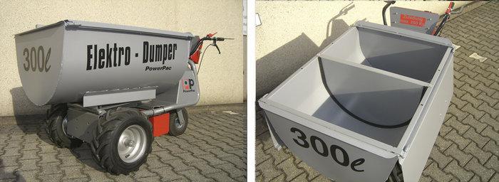 PowerPac Elektroschubkarre mit Futterwanne 300ltr.
