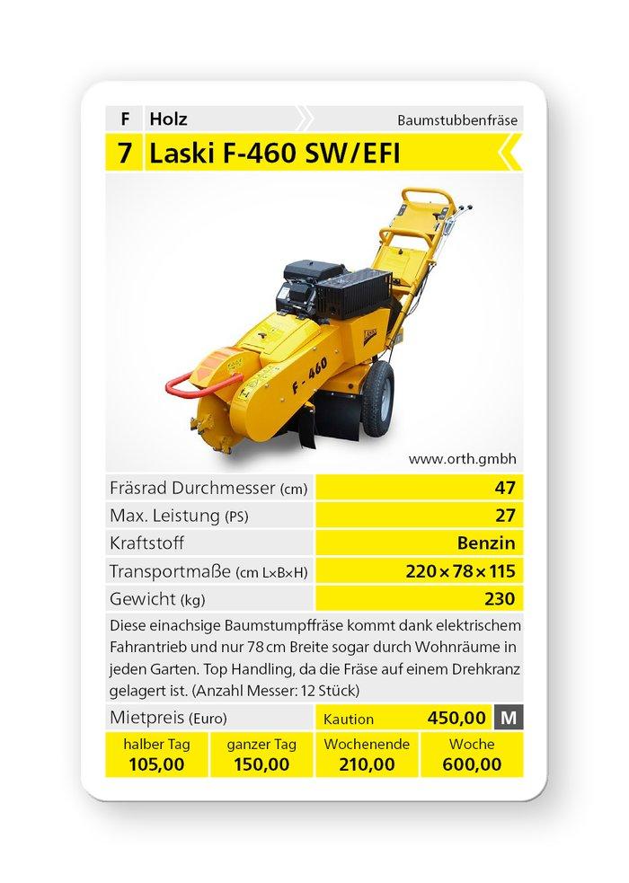 Mieten                                          Stubbenfräsen:                     Laski - F-460 / 27 AE Baumstubbenfräse (mieten)