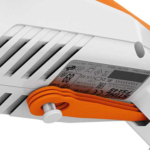 Einstellbarer Bügelgriff  Der Bügelgriff kann werkzeuglos in 6 Stufen im Winkel von 120° eingestellt werden.