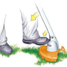 Schwenkbarer Mähkopf : Zum Trimmen und Kanten schneiden an schwer zugänglichen Stellen - wie unter Büschen oder Hecken - kann der Mähkopf stufenweise geschwenkt werden. Die Bedienung erfolgt einfach mittels Fußraster. (Abb. ähnlich)
