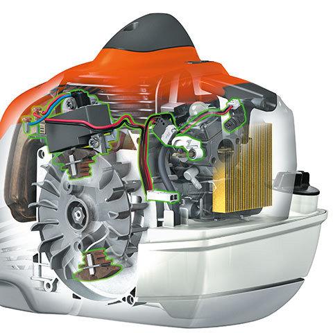 STIHL M-Tronic  M-Tronic steht für einfaches Starten mit wenigen Anwerfhüben und ohne Umschalten. Das vollelektronische Motormanagement mit Memoryfunktion regelt den Zündzeitpunkt und die Kraftstoffdosierung. Durch die Kalt-/Warmstarterkennung sorgt M-Tronic stets für optimale Motorleistung, konstante Höchstdrehzahl und sehr gutes Beschleunigungsverhalten. (Abb. ähnlich)