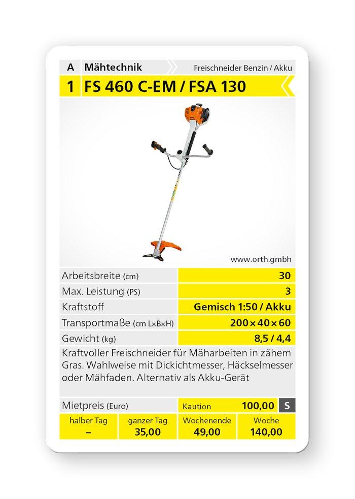 Mieten                                          Freischneider:                     Stihl - FS 460 C-EM  (mieten)