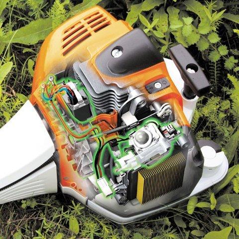 Bei STIHL Freischneidern reduzieren Stahlfedern als Antivibrationselemente die Übertragung von Schwingungen, die durch Motor und rotierendes Schneidwerkzeug entstehen. Die Griffe sind dadurch äußerst vibrationsarm und die Geräte lassen sich gut führen. (Abb. ähnlich)