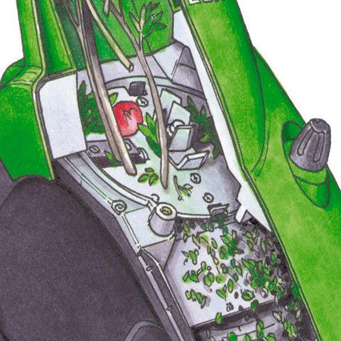 Multi-Cut 150  Patentierte Schneidtechnik: Lärmgedämmte Messerscheibe in Sandwichbauweise mit wendbaren Schneidmessern. Multi-Cut 150 verarbeitet verzweigtes Astmaterial bis zu 35 mm Durchmesser.