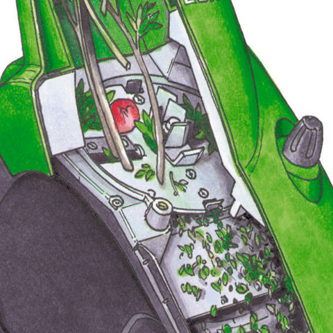 Multi-Cut 250  Patentierte Schneidtechnik: Lärmgedämmte Messerscheibe in Sandwichbauweise mit wendbaren Schneidmessern, Reißmessern und Vorzerkleinerer. Multi-Cut 250 verarbeitet große Mengen von Pflanzenresten, aber auch Astmaterial bis zu 35 mm Durchmesser.