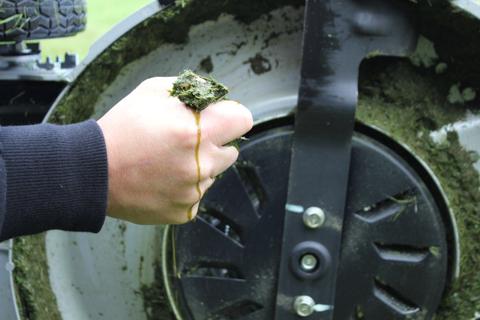 Eine separate Lüfterscheibe mit Luftschaufeln erzeugt einen so starken Luftstrom,dass selbst feuchtes Gras aufgerichtet und perfekt geschnitten wird.