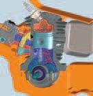 Luft im Kurbelgehäuse wird komprimiert, Kraftstoff wird im Wellenkanal unter Druck gesetzt