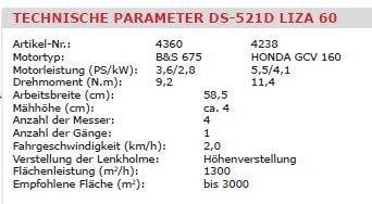 Gestrüppmäher DS 521D-GMI/LIZA, techn. Daten
