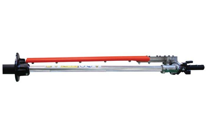 einfach einklappbar  Für den einfachen Transport lässt sich die Schneideeinheit um 180° einklappen. Die Schneidemesser werden in dieser Stellung automatisch ausgekuppelt.