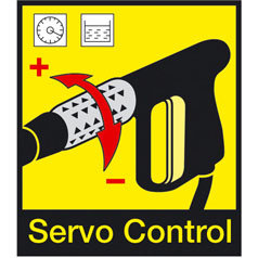 Mit dem Servo Control Regler ist der Wasserdruck und die Wassermenge bequem und präzise regelbar. Die Einstellungen können im laufenden Betrieb durch einfaches drehen am Servo Control Regler erfolgen.