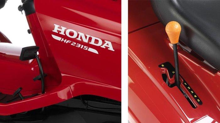 Mehrere Antriebsoptionen  Der HF 2315 HM ist mit einem Hydrostat-Antrieb verfügbar, unserem stufenlosen Antriebssystem. Der HF 2315 SB verfügt über ein manuelles 5-Gang-Getriebe. Beide Modelle bieten Ihnen eine bequeme Fahrt. Genau das können Sie von einem Honda erwarten.