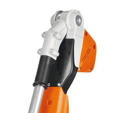 Schnellverstellsystem  Der Messerbalken lässt sich von -45° bis 70° anwendungsgerecht einstellen und kann für den Transport parallel zum Schaft eingeklappt und arretiert werden.
