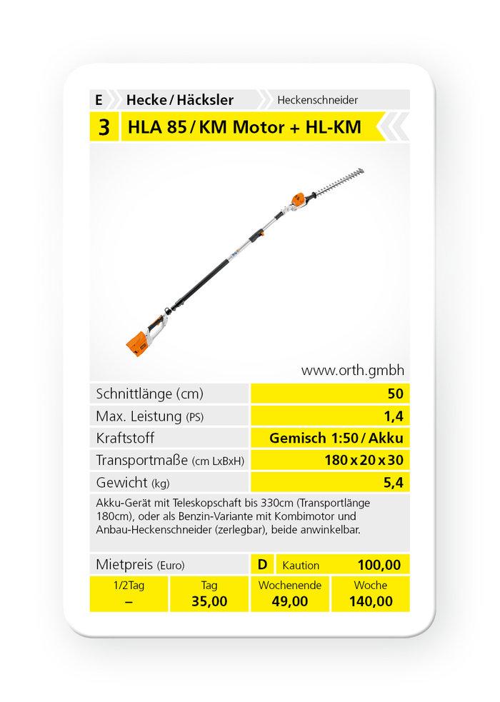 Mieten                                          Heckenschneider:                     Stihl - HLA 85 / KM-Motor mit HL-KM (mieten)