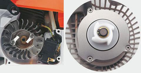 STIHL ErgoStart (E)  Der STIHL ErgoStart ermöglicht ein besonders komfortables Anwerfen der Maschine. Dabei wird der Startvorgang durch einen zusätzlichen Federspeicher zwischen Kurbelwelle und Anwerfvorrichtung unterstützt, der die benötigte Kraft beim Anwerfen der Maschine reduziert. Auch wenn Sie das Anwerfseil nur langsam ziehen, springt der Motor leicht an.(Abb. ähnlich)