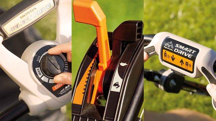 Reibungslose Steuerung  Die HRX-Reihe ist mit verschiedenen Antriebsoptionen verfügbar. Sie alle bieten ein Höchstmaß an Komfort und Kontrolle: Antrieb mit konstanter Drehzahl oder variabler SMART Drive®, Select Drive oder Hydrostat-Antrieb.