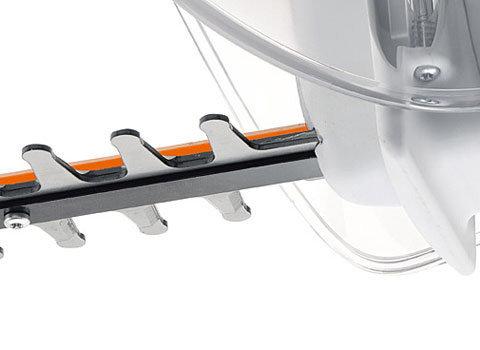 Lasergeschnittene Messer  Die Messer der Elektro-Heckenscheren sind mit einem Laserstrahl geschnitten und mit Diamantscheiben geschliffen. Die gehärteten Schnittkanten sind hochbelastbar und bleiben damit lange scharf. (Abb. ähnlich)