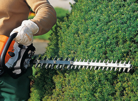 Doppelseitiges Schneidmesser  Die STIHL Heckenscheren mit doppelseitigem Schneidmesser schneiden sowohl bei senkrechten wie waagrechten Schnitten perfekt ab. Durch den Einsatz beider Messerseiten ermöglichen sie auch einen optimalen Schnitt in Ecken. (Abb. ähnlich)