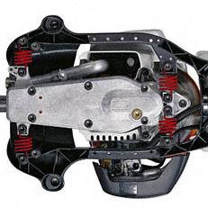 Antivibrationssystem: Gummipuffer bzw. Stahlfedern reduzieren die auf die Griffe übertragenen Schwingungen auf ein Minimum und ermöglichen dadurch kräfteschonendes Arbeiten. Abbildung zeigt STIHL HS 81.