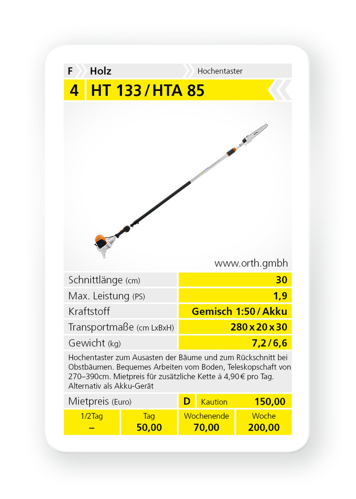 Mieten                                          Hochentaster:                     Stihl - HT 133 / HTA 85 (mieten)