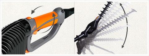 Arbeiten in unterschiedlichen Positionen: Drehbarer Schneidkopf: Bei den Geräten mit Schaft ist der Kopf um +90°/-45° drehbar, um ein optimales Arbeiten in den unterschiedlichsten Positionen zu ermöglichen. Schwenkbarer Griff: Der Griff kann um +/- 90° geschwenkt werden, damit senkrecht gearbeitet werden kann, ohne die Handgelenke zu überlasten.
