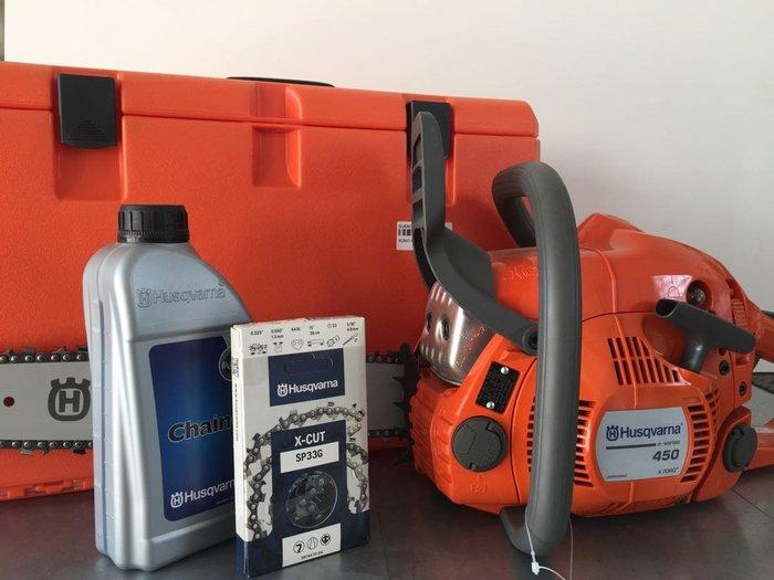 Profisägen:                     Husqvarna - Husqvarna 450e + Sägenbox + Ersatzkette + Kettenöl