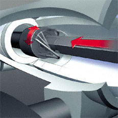 Schnellkupplung: Die Kupplungsmuffe wird durch einfaches Lösen einer Knebelschraube gelockert. Die Steckverbindung kann gelöst werden. Beim Aufstecken der KombiWerkzeuge sorgt die in der Kupplungsmuffe integrierte Zwangsführung dafür, dass sich die Antriebswelle immer automatisch in die richtige Position dreht. Werkzeug wird nicht benötigt.