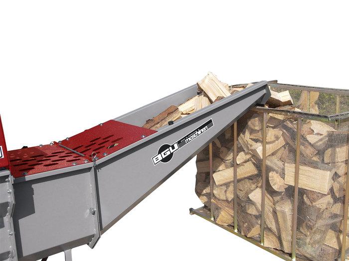 Holzabführung über Rinne