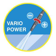 Das Vario-power Strahlrohr ermöglicht das stufenlose umschalten von Hoch- auf Niedrigdruck durch einfaches drehen am Strahlrohr.